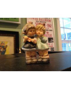 1999 Berta Hummel Goebel 2 Girls Tying Ribbon Bow Tree Ornament Mint