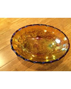 "Very Pretty Large 12"" Iridescent Marigold Carnival Glass Footed Candy Dish/ bowl"