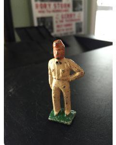 Antique Vintage Cast Iron Gas Station Attendant Man Train Garden Figure Figurine Toy