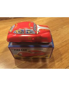 "Schylling ""Collectors Series"" ""Press and off it Goes Fire Chief Car"" Tin Toy New DL"