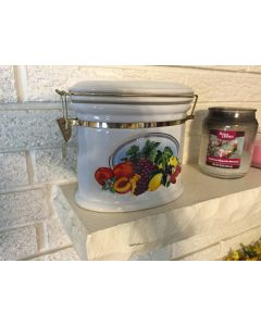 """Pretty Knott's Berry Farm Foods Ceramic Cannister Snap Seal Closure Fruit Container  7.5 x 5"""" Oval. Airtight Sealing."""