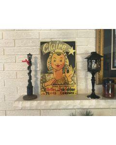 Antiqued Repo Claire Pate Sublime Advertising Sign Du Mans, Calais DL