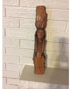 "NATIVE AMERICAN INDIAN Hand-Carved Wood ""ARLO FURNISS 1994"" Wall Carving"