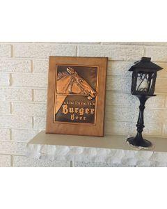Old rare vintage Burger Beer Horse bar sign Copper wood 40's - 50's