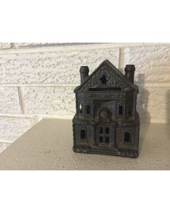 Antique Cast Iron J & E Stevens Victorian Building Still Penny Bank 4 1/2""