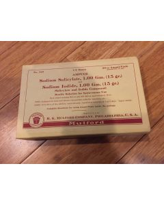 Intravenous Sodium Salicylate and Sodium Iodide Box w 20 cc Ampules, Instructions