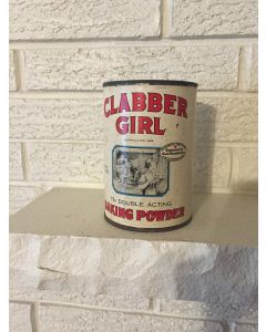 1899 CLABBER GIRL Baking Powder TIN 1 Lb 9 oz Can Vintage  Hulman & Co, IN