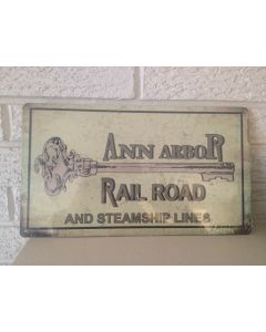 1895  Ann Arbor Railroad & Steamship Lines Logo Aluminum Sign New DL