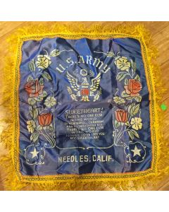***Sorry Sold***Rare Vintage Military U.S. Army Collectible PIllow Cover Vintage WW2 U.S. Army Needles California D.L.