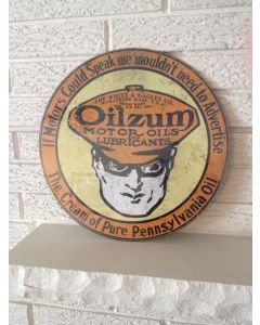 "Oilzum New Sign ""The Cream of Pure Pennsylvania Oil "" White & Bagley Worcester DL"