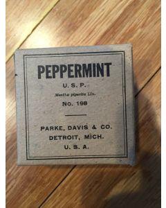 Antique Unopened Drug Box Of Peppermint. Parke, Davis & Co. Detroit, Mich. Full