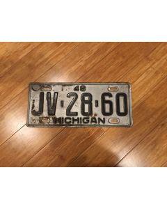 Antique Michigan License Plate 1948 JV-28-60 Black on Silver