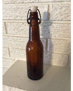 """Vintage  Beer Bottle Brown  Glass w/ ceramic Swing Top Cap. """"W"""" embossed on Bottom"""