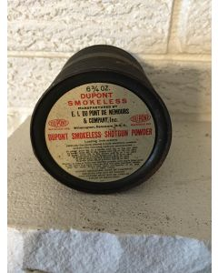 """Very Nice Dupont Smokeless Shotgun Powder.  Empty Can.  6.75 oz. can.  E.I. Dupont De Mours & Co. Wilmington, Delaware.  Antique Vintage Rifle/Musket Black Powder Can Muzzle Loading. Labels Present on Top And Bottom Of Can.  3.75""""H  X 3.25""""."""