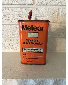 Antique Vintage Meteor Black Powder Tin C-I-L Ammunition Plattsburgh New York Made In great Britain