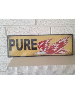 "Pure Oil Co. ""Firebird"" Logo Aluminum Sign. Size 6 x 18"" DL"