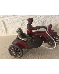 ***SORRY SOLD*** Antique HUBLEY 1930s CAST IRON COP MOTORCYCLE WITH SIDE CAR + Passenger