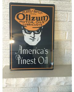 "Oilzum New Sign ""America's Finest Oil"" White & Bagley Worcester Massachussetts DL"