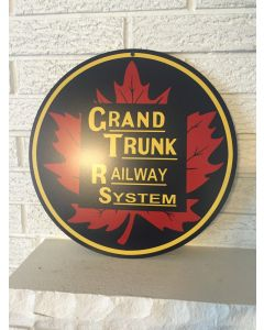 "Grand Trunk Railway System Maple Leaf Logo Aluminum Sign 14"" Round Logo Railroad Sign DL"