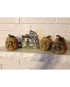 """Set Of Three 4.5"""" Halloween PUMPKIN Heads With Faces For a Verrry Scary Night"""
