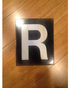 "Antique Heavy Gauge Steel Letter ""R"" White on Black"