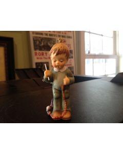 Tree Ornament GOEBEL Berta Hummel Boy STRINGING CRANBERRIES Porcelain Mint