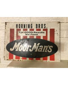 "Vintage Barn Find Antique Sign Moormans ""For Good Results We Feed"" Horning Bros"