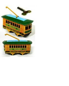 Broadway New York Mini Trolley Tin Litho Clockwork Wind Up  DL