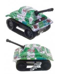 "Tiny Tank Tin Litho Toy Green Army Windup rubber treads 1.5"" Tall DL"
