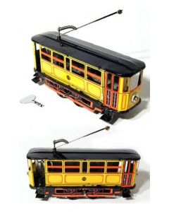 Yellow, Red, Black Electric Trolley Tin Litho Wind up Clockwork Mechanism DL