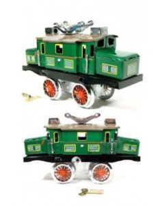 Wonderful little Tin Toy New in Box - Catenary Railroad Loco Switcher Wind up Clockwork Mechanism DL