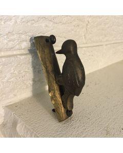 Vintage Solid Brass Woodpecker Door Knocker on a Tree